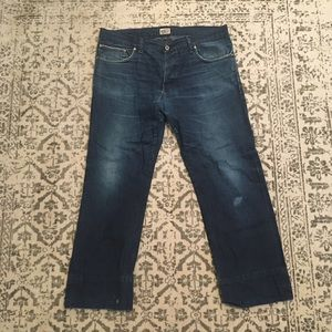 Naked and Famous raw denim jeans with mending